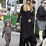 Rachel Zoe held hands with her son Skyler at the farmers market in LA on Sunday.