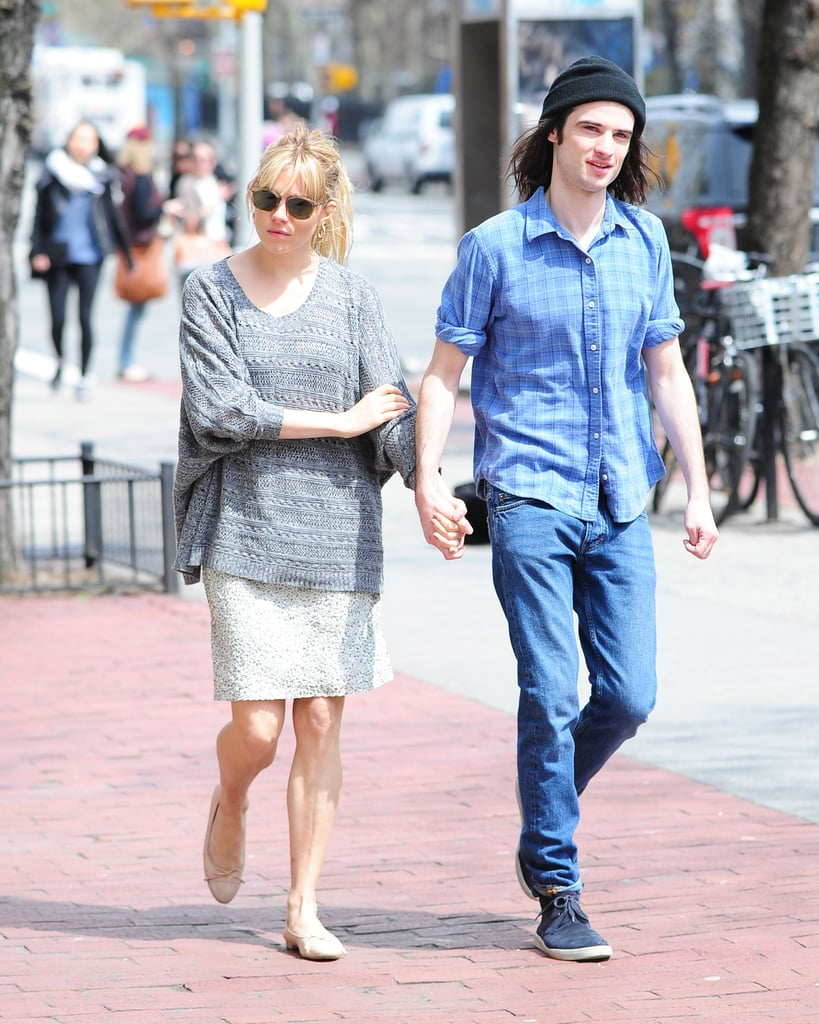 Sienna Miller and her fiancé, Tom Sturridge, held hands for a walk in Manhattan yesterday afternoon. The couple was without their young daughter, though little Marlowe Sturridge was out and about in NYC over the weekend. Yesterday shaped up to be a busy one for Tom. Following his outing with Sienna, he linked up with Alec Baldwin and Ben Foster, his costars in the Broadway show Orphans, for a TimesTalk hosted by The New York Times. The entire week is a big one for Tom, Alec, and Ben —Thursday will be their show's official opening following a few weeks of preview performances.