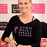 Reese wore the official Walk for Breast Cancer t-shirt.