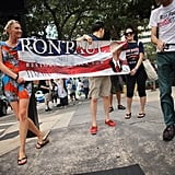Ron Paul supporters walked the streets.
