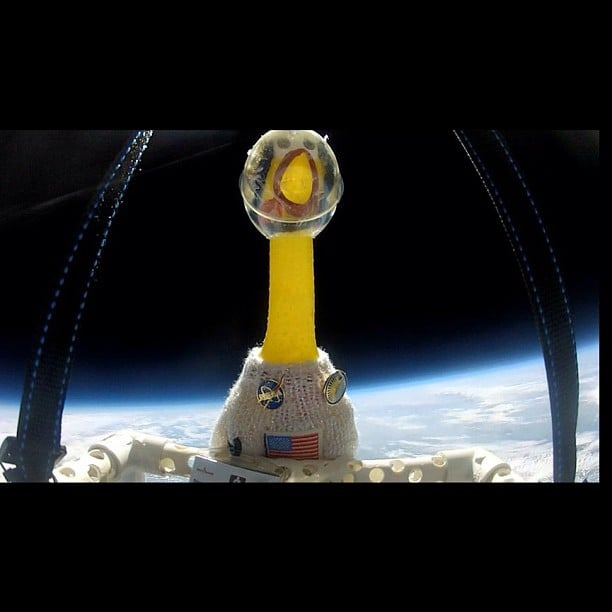 """You got it! Another flight to the Stratosphere this past Saturday. This was at 116,000 feet, -63 C or -81 F. You can see my radiation badge on the lower left to measure solar radiation from the March 10, 2012 M-class Solar Flare. #nasa #stem"" Source: Instagram user camillasdo"