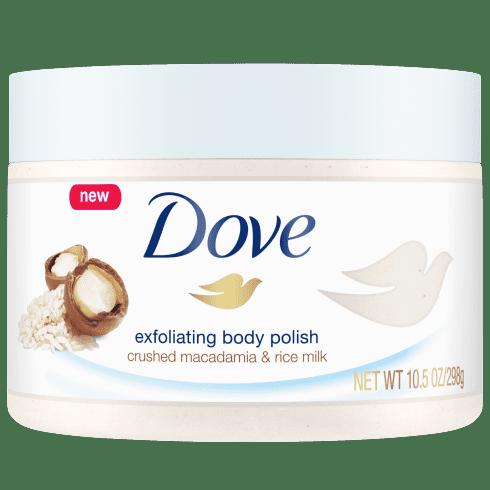 Best Body Scrub: Dove Body Polish Crushed Macadamia & Rice Milk