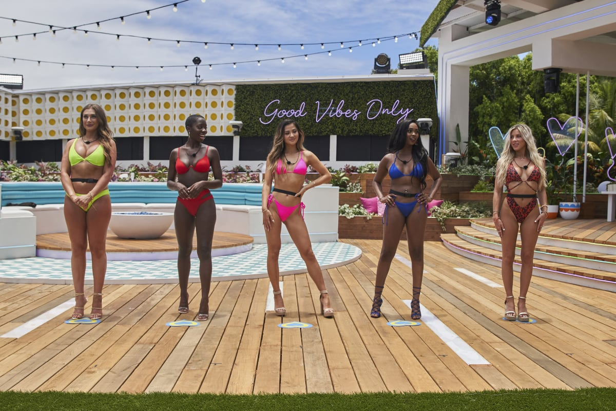 Love Island - Pictured (L-R): Olivia Kaiser, Cashay Proudfoot, Kyra Lizama, Trina Njoroge and Shannon St. Clair. Special 90-minute season premiere, Wednesday, July 7 (9:30-11:00 PM, ET/PT). New episodes air Tuesdays - Fridays (9:00-10:00 PM, ET/PT); and Sundays (9:00-11:00 PM, ET/PT) on the CBS Television Network and available to stream live and on demand on the CBS app and Paramount+. - Photo: Sara Mally/CBS ©2021 CBS Broadcasting, Inc. All Rights Reserved.