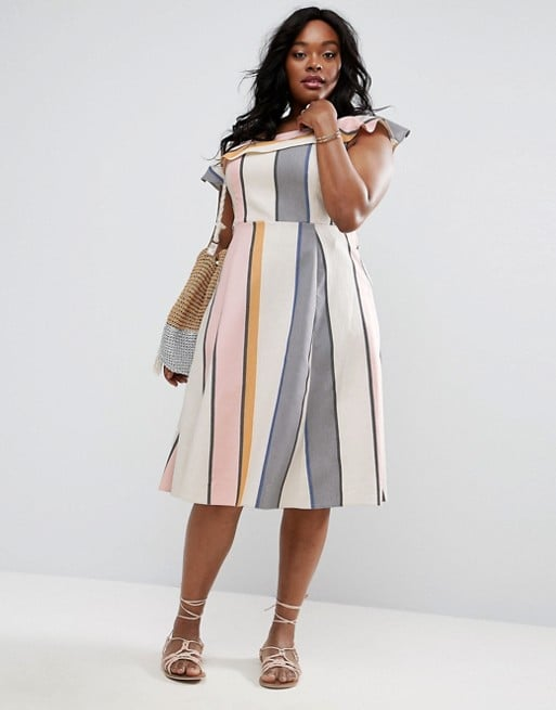 Asos Curve's One Shoulder Stripe Midi Sundress ($58) is perfectly feminine and flouncy for the season.