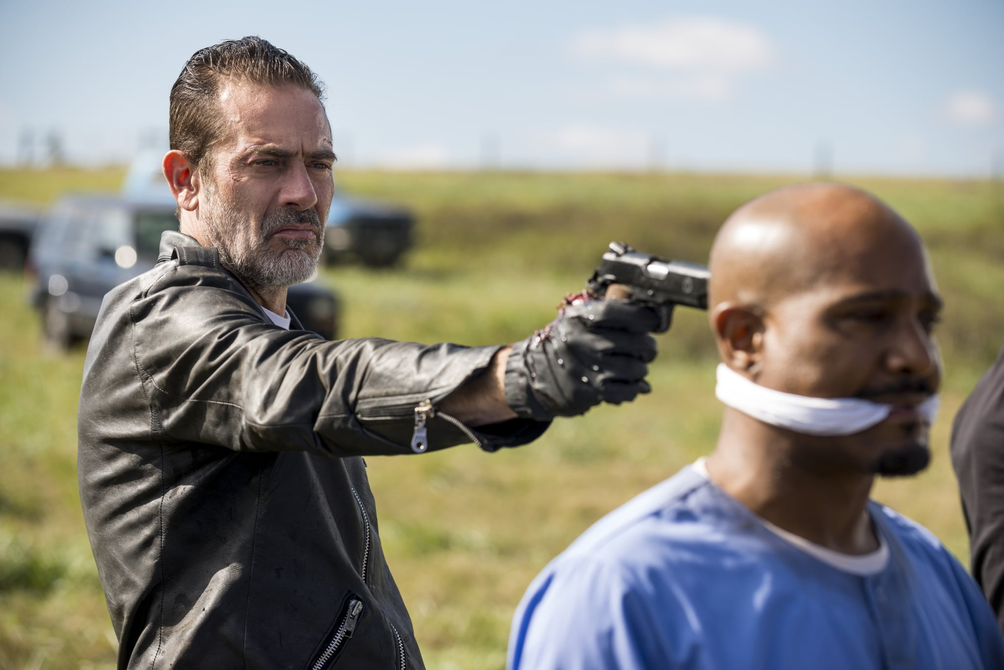 Jeffrey Dean Morgan as Negan, Seth Gilliam as Father Gabriel Stokes - The Walking Dead _ Season 8, Episode 16 - Photo Credit: Gene Page/AMC