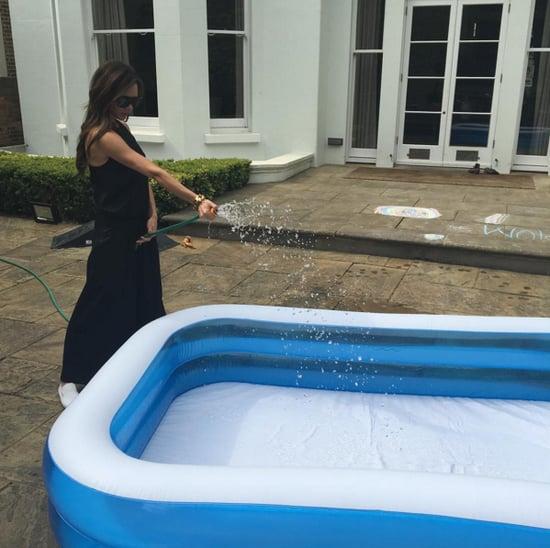 Victoria Beckham Black Jumpsuit in Pool Instagram 2016