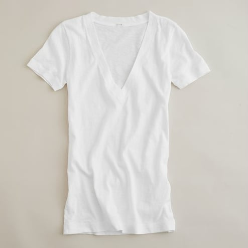 Desert climates mean a lot of sweating. That said, you should stick to lighter colors and fabrics. This white tee is the perfect, comfy fit.  J.Crew Tissue V-Neck Tee ($30)