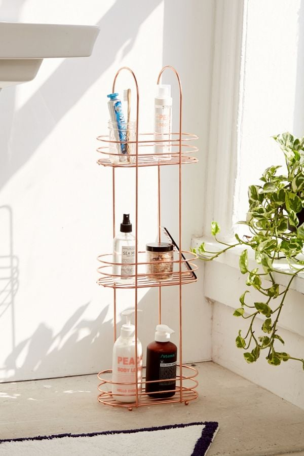 Urban Outfitters Minimal Rose Gold Standing Bathroom Storage ($US39) is a standing product holder that can go in your bathroom or bedroom.