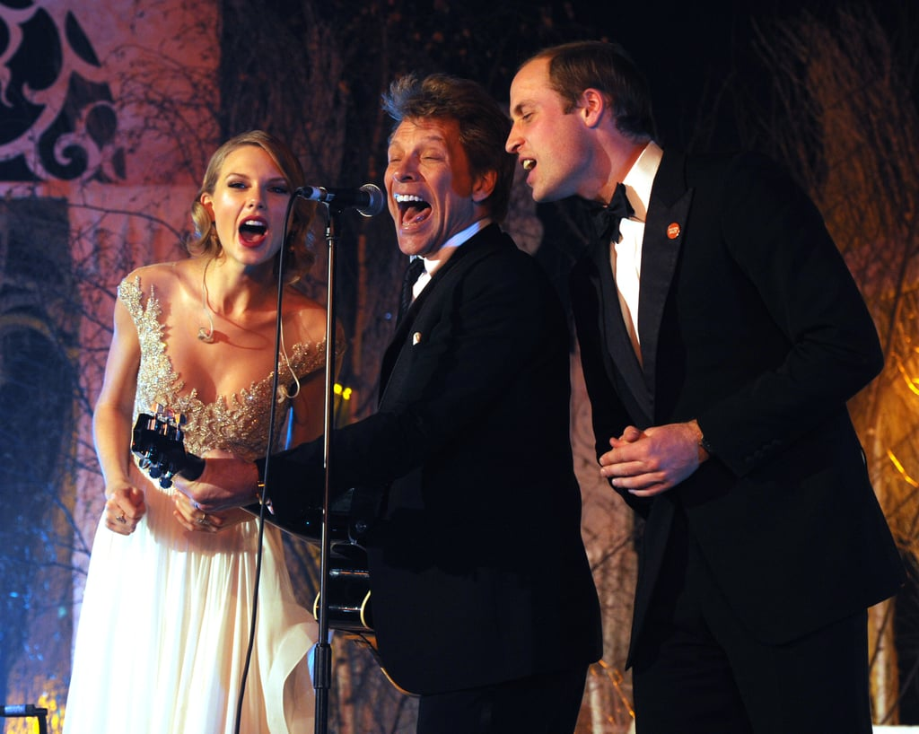 "Prince William joined Taylor Swift and Jon Bon Jovi on stage for a performance of ""Livin' on a Prayer"" at Kensington Palace in November 2013."
