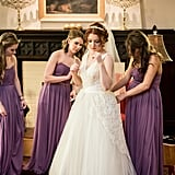 Julia getting ready with her bridesmaids.