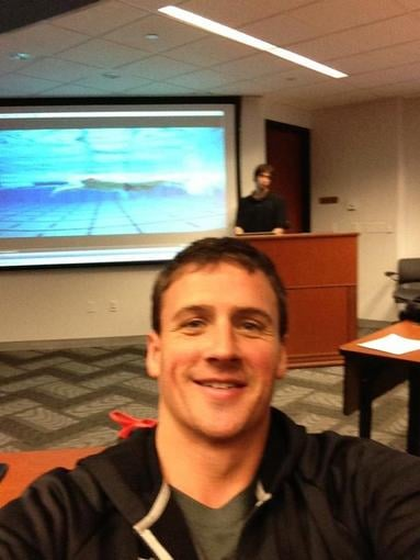 Ryan Lochte snapped a photo of himself while answering questions from his Twitter followers. Source: Twitter user ryanlochte