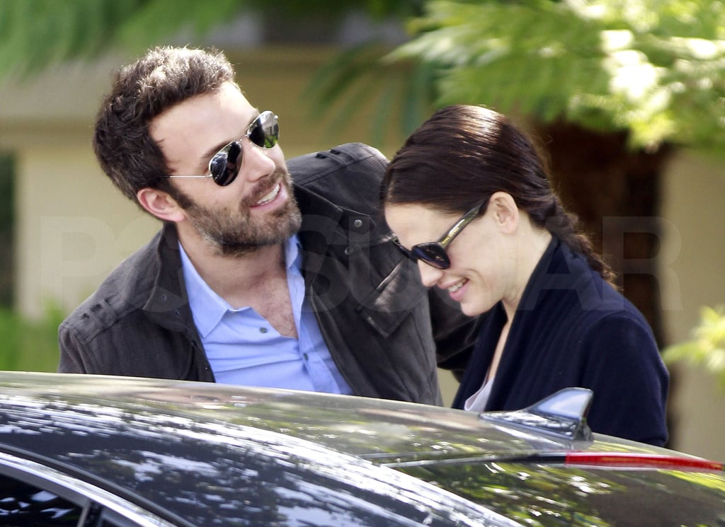 Jennifer Garner linked arms with Ben Affleck as they left an elementary school in LA earlier today. The pair are back to visiting schools for their oldest daughter, Violet, after taking a few months off while Jen promoted Arthur and Ben traveled to exotic locations while growing out a grizzly beard. Ben may have to shave in the near future as he just landed a coveted role that will take him back in time. He's reportedly starring as Tom Buchanan in The Great Gatsby opposite Leonardo DiCaprio's Jay Gatsby and Carey Mulligan's Daisy Buchanan. Meanwhile, Jen's got her hands full too prepping to play Agatha Christie's famous literary sleuth Miss Marple.