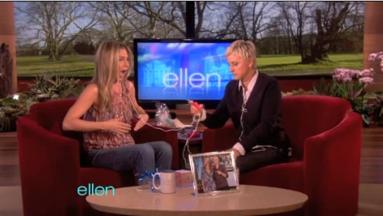 Video of Jennifer Aniston Talking Adoption Rumors and Trying on Vibrating Bra Inserts With Ellen Degeneres 2011-02-01 18:21:08