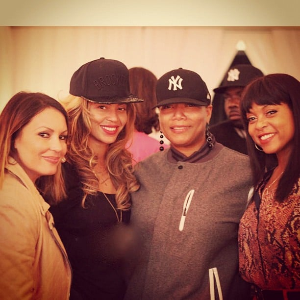 Beyoncé Knowles posed with Queen Latifah, Angie Martinez and Taraji P. Henson while supporting her husband, Jay-Z, at his Barclays Center concert in New York. Source: Twitter user IAMQUEENLATIFAH