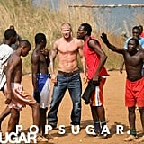 No shirt was needed during David Beckham's 2008 visit with UNICEF to Sierra Leone.