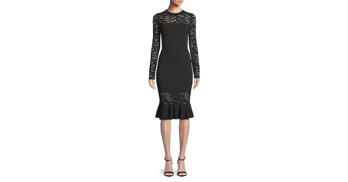 4d417ea29d Milly Long-Sleeve Pointelle Lace Mermaid Midi Dress