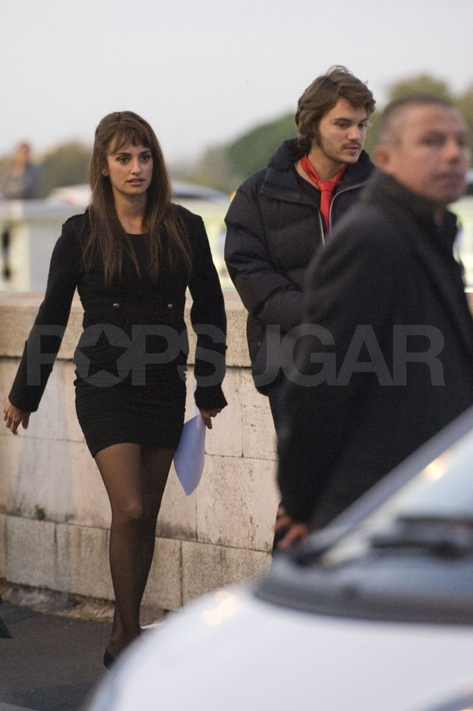 Penelope Cruz and Emile Hirsch made their way to set.