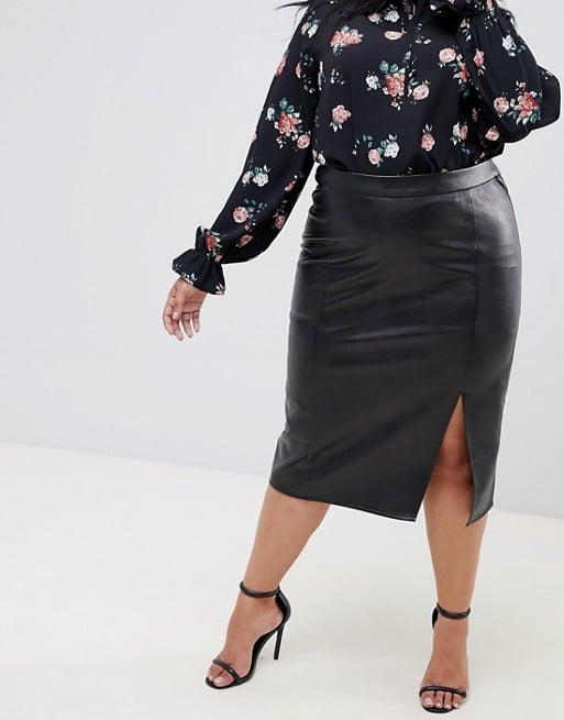 bbd47f4664 Fashion Union Pu Pencil Skirt With Side Split   Amal Clooney Black ...