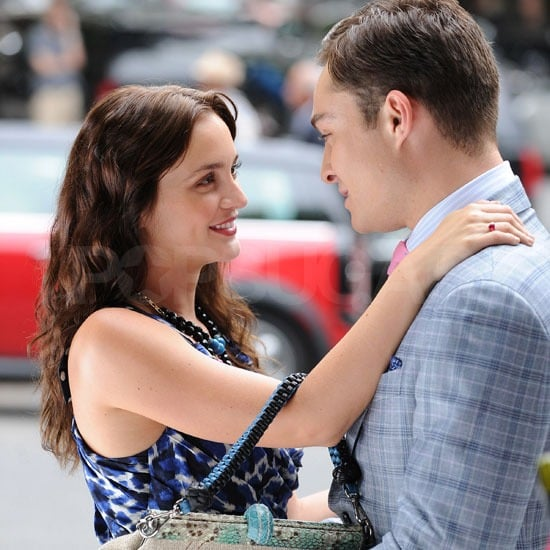 Leighton Meester and Ed Westwick looked happy to see each other on the NYC set of Gossip Girl.