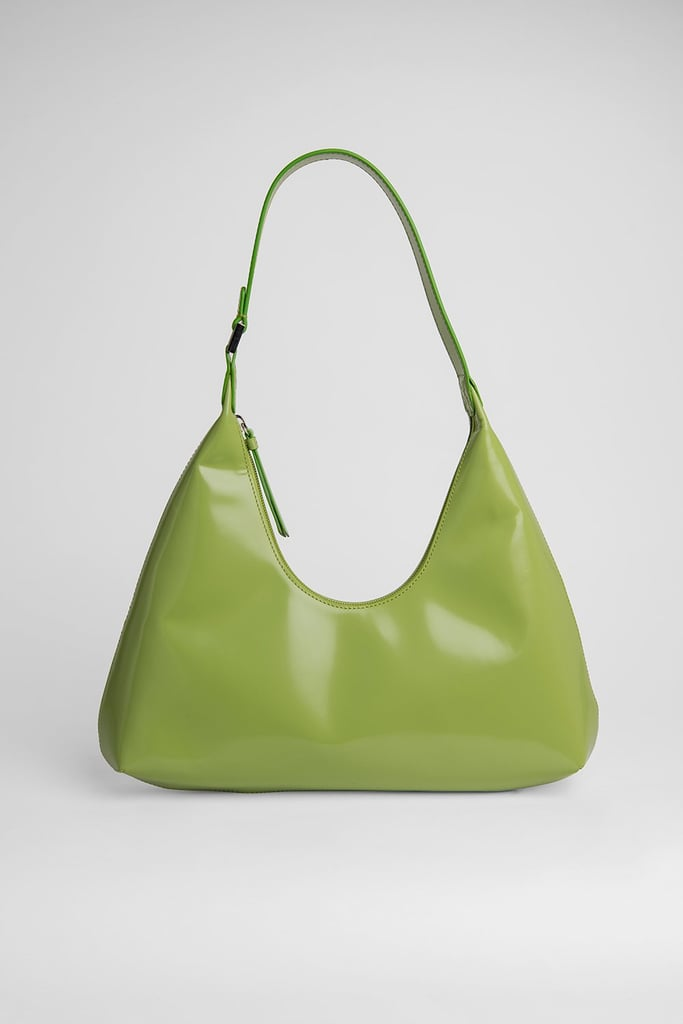 By Far Amber Lime Green Semi Patent Leather Bag