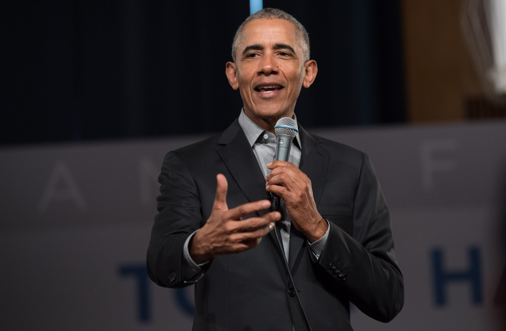06 April 2019, Berlin: Former US President Barack Obama addresses questions from young people at a Town Hall event at the European School of Management and Technology. According to his foundation, around 300 young people from Europe who are involved in areas such as civil society, integration or food security participate. Photo: Jörg Carstensen/dpa (Photo by Jörg Carstensen/picture alliance via Getty Images)