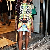Azealia Banks shows off an affinity to brighter than bright prints at the new Just Cavalli boutique opening.