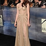 Kristen Stewart stepped out in a stunning Zuhair Murad gown — lacy, nude, sheer, and chiffon-paneled — from the designer's Fall '12 collection for the final Twilight premiere in LA.
