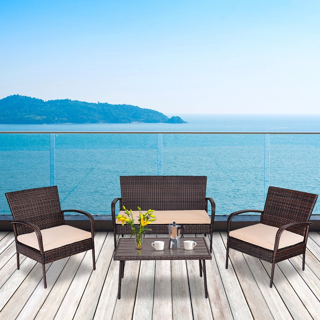 Gymax Patio PE Rattan Wicker Table Sofa Furniture Set