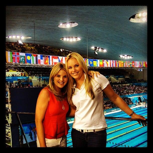 Jenna Bush Hager hung out poolside with Lindsey Vonn.  Source: Twitter user lindseyvonn