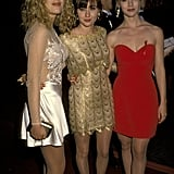 The girls of Beverly Hills 90210, Tori Spelling, Shannen Doherty, and Jennie Garth, were the picture of '90s chic in 1992.