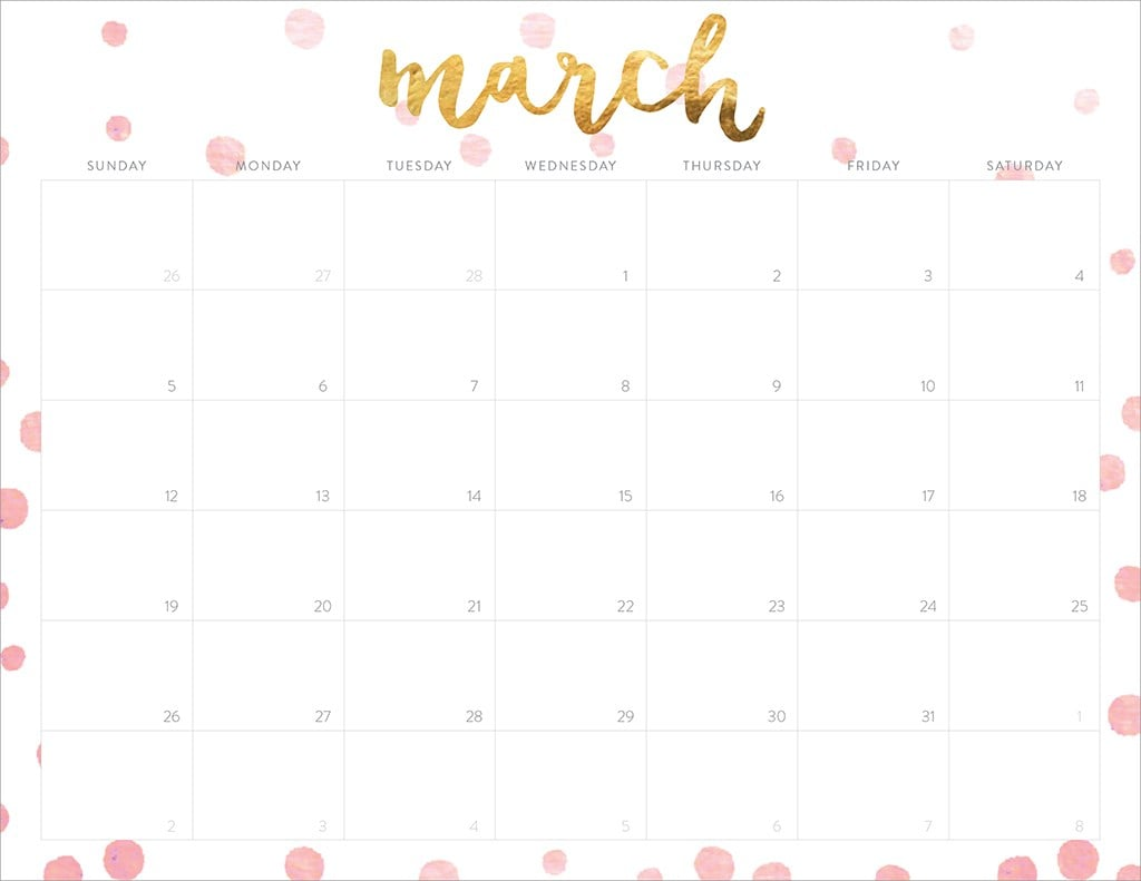 Going For Gold 2017 Free Printable Calendars Popsugar