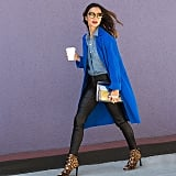 A Blue Duster Jacket or Blazer, a Chambray Shirt, Leather Pants, and Leopard Heels