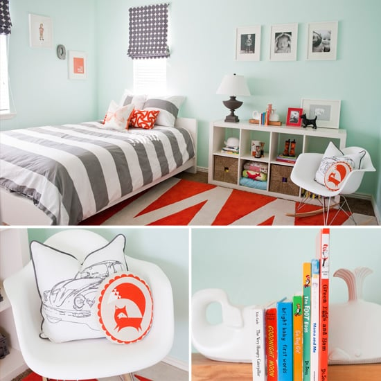 Cool Shades of Aqua, Gray, and Orange For a Modern Little Boy's Room