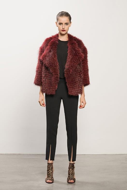 Coyote Red Fur Jacket ($2,295), Cashmere Black Tee ($295), Crepe Black Cigarette Pant ($550), Trouble Maker Leopard Sandal ($995) Photo courtesy of Tamara Mellon