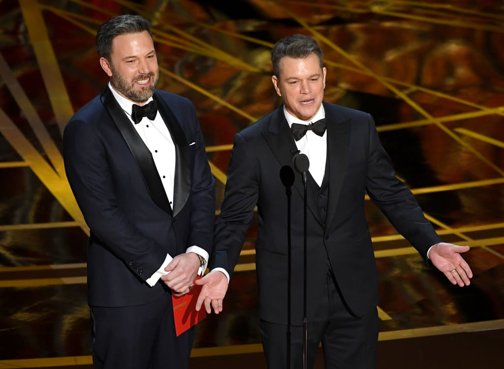 """Ben Affleck """"and Guest"""" Matt Damon Bring the Laughs on Stage at the Oscars"""