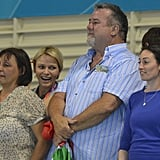 Charlene was happy, sitting next to Chad Le Clos's family.