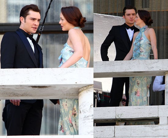 Pictures of Ed Westwick and Leighton Meester Filming Gossip Girl