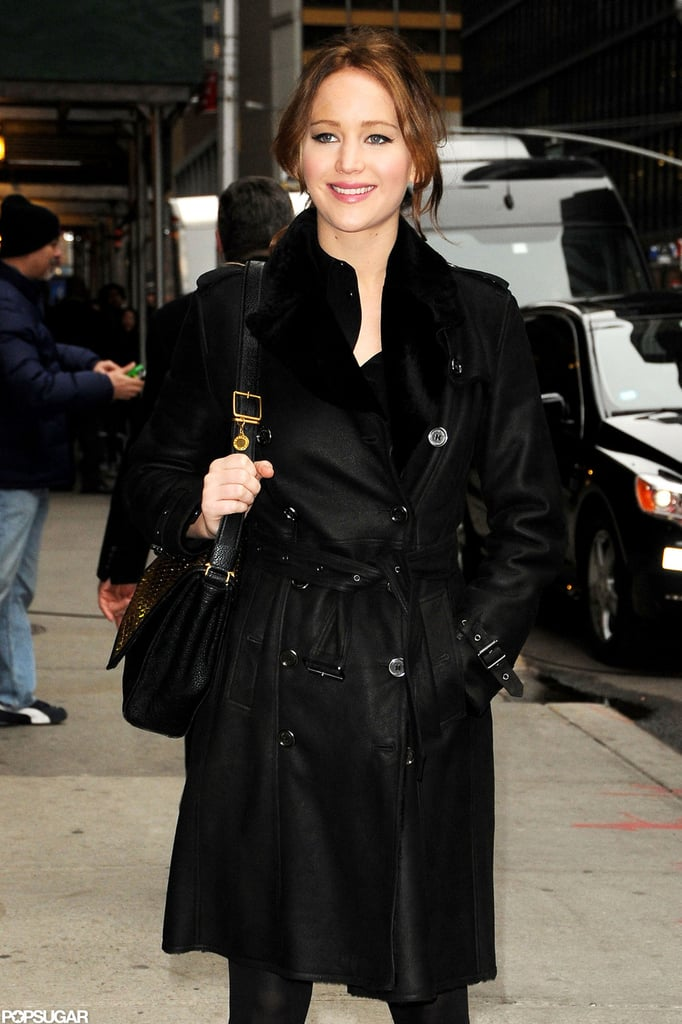 Jennifer Lawrence had a smile on her face for a stop by Late Show with David Letterman.