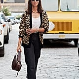 Easy Outfits: A Cardigan, Jeans, a Bag, Heels, and Sunglasses