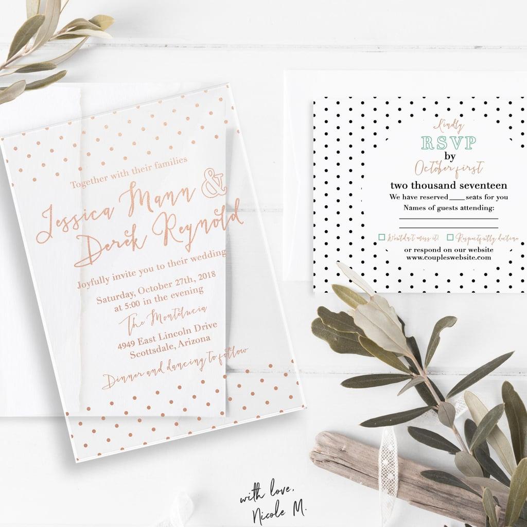 pink polka dot wedding invitation acrylic wedding invitations