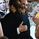 Matthew McConaughey and Jared Leto hugged it out in between tables.  Source: Larry Busacca/NBC/NBCU Photo Bank/NBC