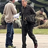 George Clooney walked around the set.