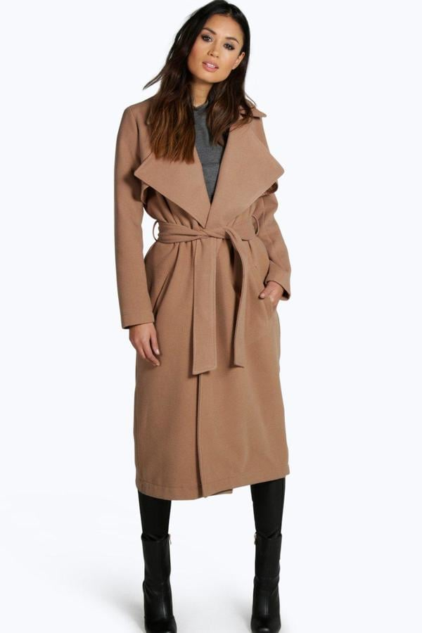 Boohoo Lois Longline Belted Wool Look Trench ($80)   Emily
