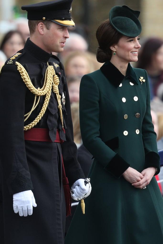 Kate Wore a Bespoke Dark Green Coat Designed by Catherine Walker
