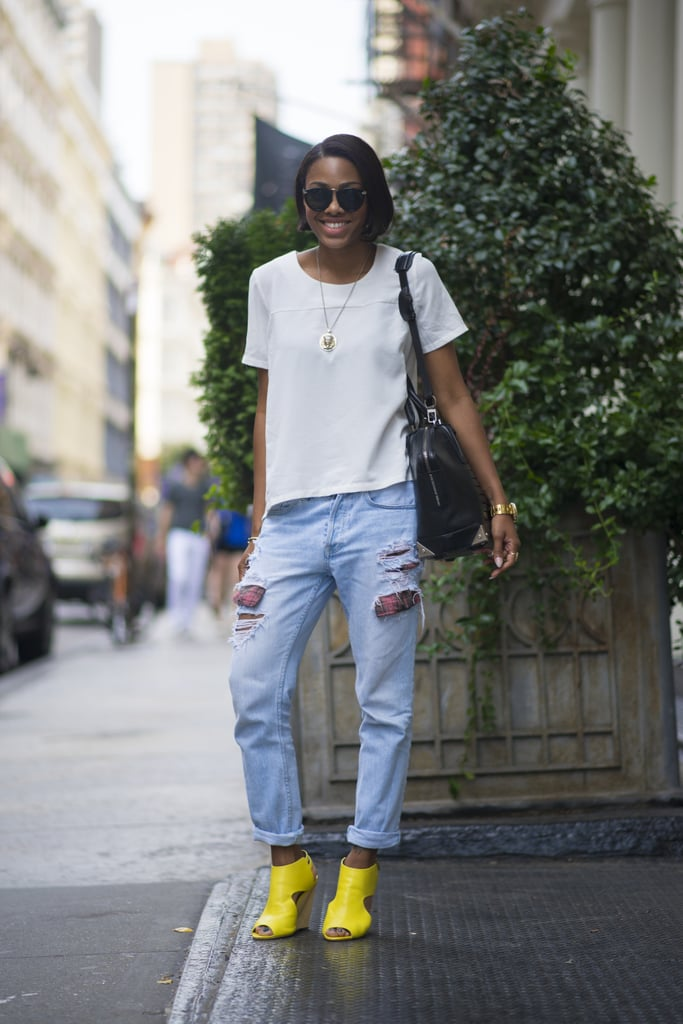 Liven up your distressed jeans with high-octane footwear. Source: Le 21ème | Adam Katz Sinding