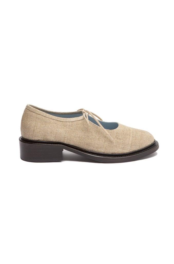 Fabiana Natural Linen Mary-Jane Shoes
