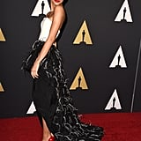 Zendaya absolutely stunned at the 2014 Academy of Motion Picture Arts and Sciences' Governors Awards in a Christian Siriano gown that proved black-and-white doesn't have to be boring.