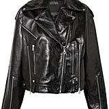 Rokh Oversized Glossed Leather Biker Jacket