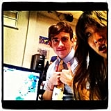 Jenna Ushkowitz posed with Kevin McHale on the set of Glee. Source: Instagram user jennaushkowitx