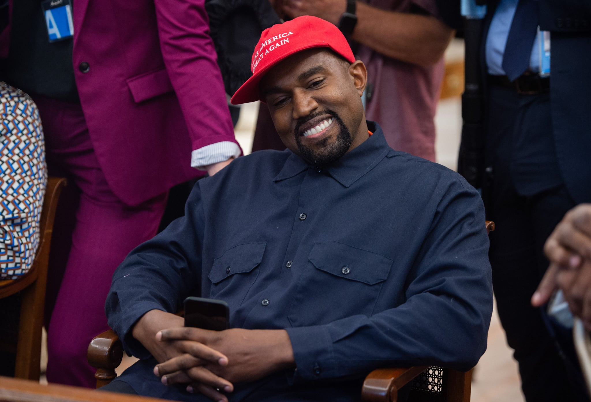 (Files) in this file photo rapper Kanye West speaks during his meeting with US President Donald Trump in the Oval Office of the White House in Washington, DC, on October 11, 2018. - Kanye West, the entertainment mogul who urges listeners in one song to
